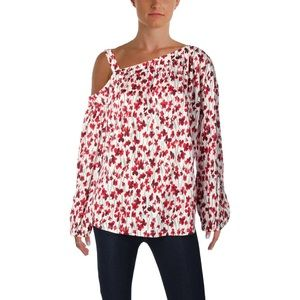 Ralph Lauren red floral 1 shoulder blouse top 2X